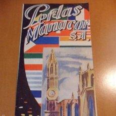 Mapas contemporáneos: MALLORCA. PERLAS MANACOR S.A. PLANO DE LA ISLA. CALCULO QUE DE LOS AÑOS 50/60.. Lote 57441942