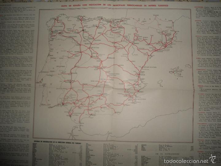Mapas contemporáneos: ANTIGUO MAPA ESPAÑA CARRETERAS Y FERROCARRILES - PUBLICACIONES DIRECCION GENERAL TURISMO - Foto 2 - 57804049