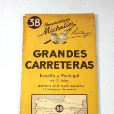 Cartes géographiques contemporaines: MAPA MICHELIN Nº 38 GRANDES CARRETERAS ESPAÑA Y PORTUGAL 1951-52 G34A. Lote 58185420
