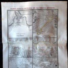 Mapas contemporáneos: PLANOS PARA LA HISTORIA DE LA GRECIA ANTIGUA. GRABADO POR DOMINGO ESTRUE EN 1830. Lote 58226038
