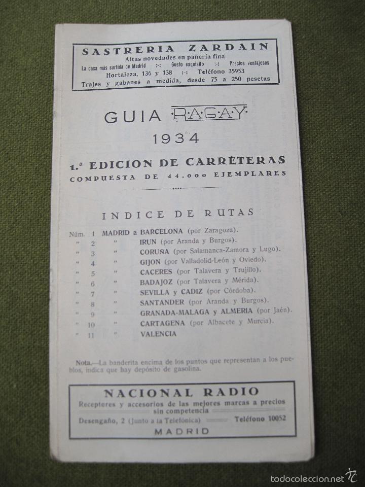 GUIA RAGAY 1934 -1ª. EDICION DE CARRETERAS. (Coleccionismo - Mapas - Mapas actuales (desde siglo XIX))