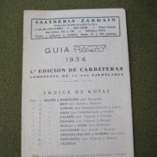 Mapas contemporáneos: GUIA RAGAY 1934 -1ª. EDICION DE CARRETERAS. . Lote 58285065