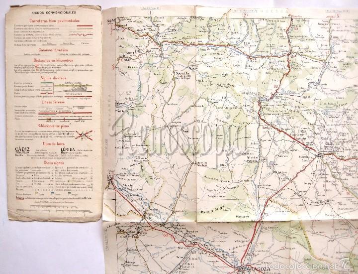 Mapas contemporáneos: MAPA DESPLEGABLE MICHELIN ESPAÑA Nº 43 ZARAGOZA - BARCELONA AÑOS 30 - 40 - Foto 3 - 58496329