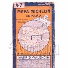Mapas contemporáneos: MAPA DE PAPEL DESPLEGABLE MICHELIN ESPAÑA Nº 47 MADRID - VALENCIA AÑOS 30 - 40. Lote 58496337