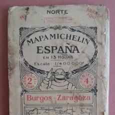 Mapas contemporáneos: MICHELIN 1920´S * ANTIGUO MAPA CARRETERAS DE BURGOS ZARAGOZA * 88 CM X 40 CM. Lote 58640678