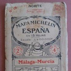 Mapas contemporáneos: MICHELIN 1920´S * ANTIGUO MAPA CARRETERAS DE MALAGA MURCIA * TAMAÑO DE 88 CM X 40 CM. Lote 58640720