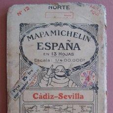 Mapas contemporáneos: MICHELIN 1920´S * ANTIGUO MAPA CARRETERAS DE CADIZ SEVILLA * TAMAÑO DE 88 CM X 40 CM. Lote 58640741