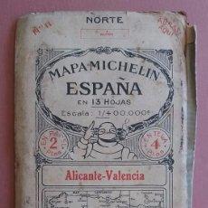 Mapas contemporáneos: MICHELIN 1920´S * ANTIGUO MAPA CARRETERAS DE ALICANTE - VALENCIA * TAMAÑO DE 88 CM X 40 CM. Lote 58640796