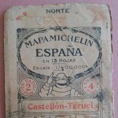 Mapas contemporáneos: MICHELIN 1920´S * ANTIGUO MAPA CARRETERAS DE CASTELLON - TERUEL Y BALEARES * TAMAÑO DE 88 CM X 40 CM. Lote 58640850