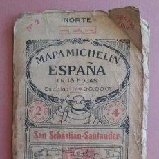 Mapas contemporáneos: MICHELIN 1920´S * ANTIGUO MAPA CARRETERAS DE SAN SEBASTIAN - SANTANDER * TAMAÑO DE 88 CM X 40 CM. Lote 58640934