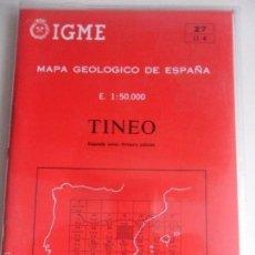 Mapas contemporáneos: TINEO. MAPA GEOLOGICO DE ESPAÑA. ESCALA 1:50.000. INSTITUTO TECNOLOGICO GEOMINERO DE ESPAÑA. LIBRO Y. Lote 59439835
