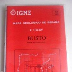 Mapas contemporáneos: BUSTO. MAPA GEOLOGICO DE ESPAÑA. ESCALA 1:50.000. INSTITUTO TECNOLOGICO GEOMINERO DE ESPAÑA. LIBRO Y. Lote 59440550