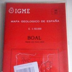 Mapas contemporáneos: BOAL. MAPA GEOLOGICO DE ESPAÑA. ESCALA 1:50.000. INSTITUTO TECNOLOGICO GEOMINERO DE ESPAÑA. LIBRO Y . Lote 59440800