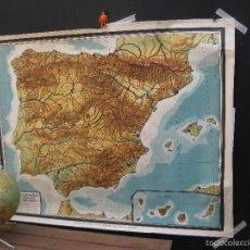 Mapas contemporáneos: MAPA ANTIGUO VINTAGE ESPAÑA LUIS VIVES ZARAGOZA INSTITUTO IBEROAMERICANO DECORACION FOTO ADEREZO. Lote 59477159