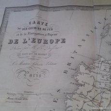 Mapas contemporáneos: CARTA O MAPA DE EUROPA NAVEGACIÓN DE BARCOS DE VAPOR. SIGLO XIX. Lote 60119219