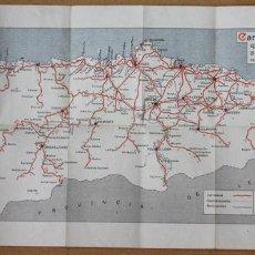 Mapas contemporáneos: CARTA GUIA DE LAS CARRETERAS Y CAMINOS VECINALES DE OVIEDO. P. ESCALERA BLANCO. AÑOS 50. Lote 60784119