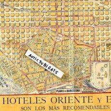 Mapas contemporáneos: MAPA PLANO DE BARCELONA AÑO 1926 HOTEL ORIENTE Y HOTEL ESPAÑA FOMENTO DEL EXCURSIONISMO UNION IBERO. Lote 61227107