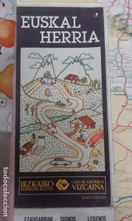 MAPA DE EUSKAL HERRIA CAJA DE AHORROS VIZCAINA AÑOS 60-70 (Coleccionismo - Mapas - Mapas actuales (desde siglo XIX))