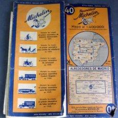 Mapas contemporáneos: MAPA MICHELIN ESPAÑA ALREDEDORES MADRID Nº 40 AÑOS 40 USADO. Lote 64958331