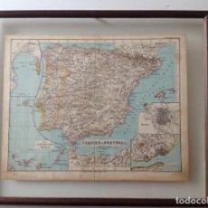 Mapas contemporáneos: RARO MAPA DE ESPAÑA ENMARCADO. Lote 67007062