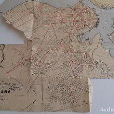Mapas contemporáneos: CUBA * VARIOS RECORTES DE MAPAS Y UN PANO DE LA HABANA COMPRADO ALLI EN 1918. Lote 68995129