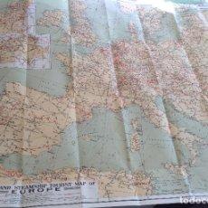 Mapas contemporáneos: CA 1925-1931 * GRAN MAPA EUROPA DE FERROCARRIL VAPORES Y AEREO * 103 CM * DESPLEGABLE. Lote 69744797