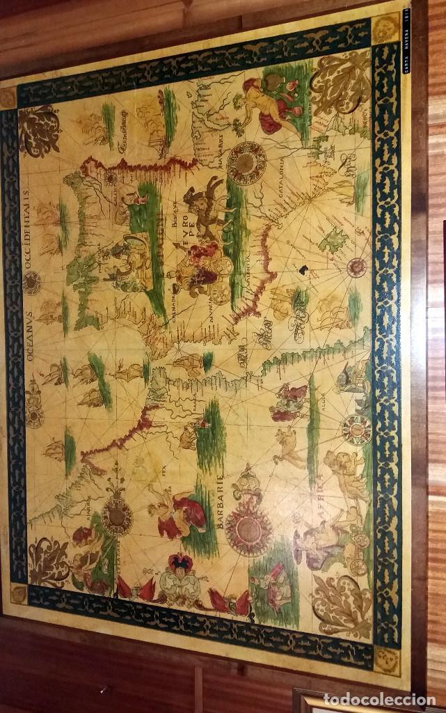CARTA NAVEGACION ESPAÑA Y NORTE AFRICA 1613 - ESTAMPADA SOBRE TELA ENMARCADA 1220X930 CM. (Coleccionismo - Mapas - Mapas actuales (desde siglo XIX))