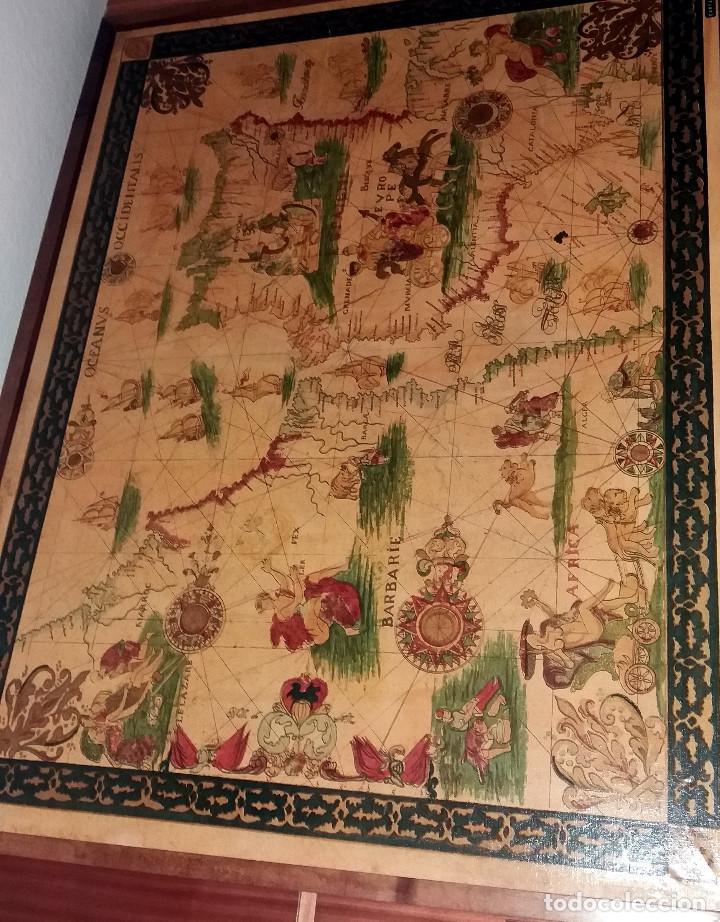 Mapas contemporáneos: CARTA NAVEGACION ESPAÑA Y NORTE AFRICA 1613 - estampada sobre TELA ENMARCADA 1220X930 CM. - Foto 3 - 75161427