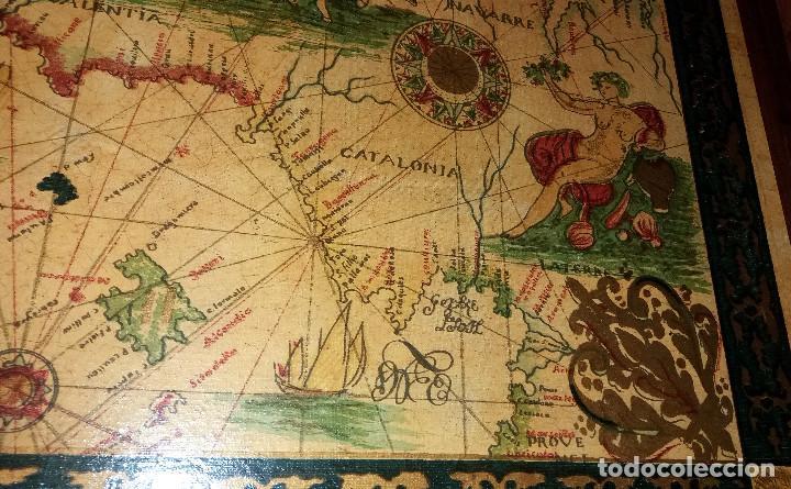 Mapas contemporáneos: CARTA NAVEGACION ESPAÑA Y NORTE AFRICA 1613 - estampada sobre TELA ENMARCADA 1220X930 CM. - Foto 6 - 75161427