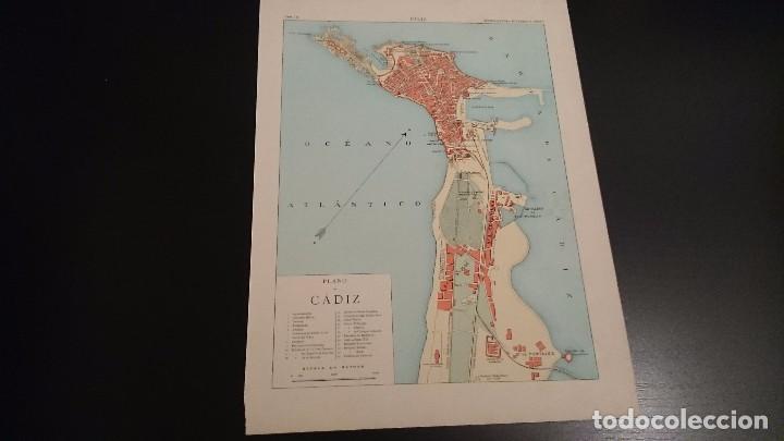 LAMINA CROMOLITOGRAFICA ENCICLOPEDIA SEGUI 1905 MAPA PLANO DE CÁDIZ DOBLE CARA (Coleccionismo - Mapas - Mapas actuales (desde siglo XIX))
