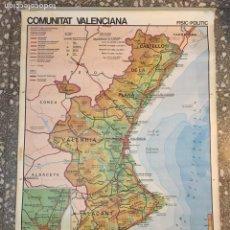 Mapas contemporáneos: MAPA COMUNIDAD VALENCIANA DE COLEGIO ECONOMIA, FISICO Y POLITICO. MIDE 130X 90 CM. AÑO 1984.. Lote 82834402