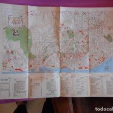 Mapas contemporáneos: ANTIGUO MAPA DE LISBOA Y GUÍA DE MONUMENTOS. EDICIONES SNI. 70X50. LISBONNE. LISBON. AÑOS 50. Lote 83636204