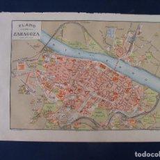 Mapas contemporáneos: PLANO DE ZARAGOZA. 1898. CROMOLITOGRAFÍA DE MONTANER Y SIMÓN. 22X30 CM. Lote 84963188