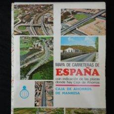 Mapas contemporáneos: MAPA DE CARRETERAS DE ESPAÑA OBSEQUIO CAJA DE AHORROS DE MANRESA. AÑO 1969.. Lote 85015656