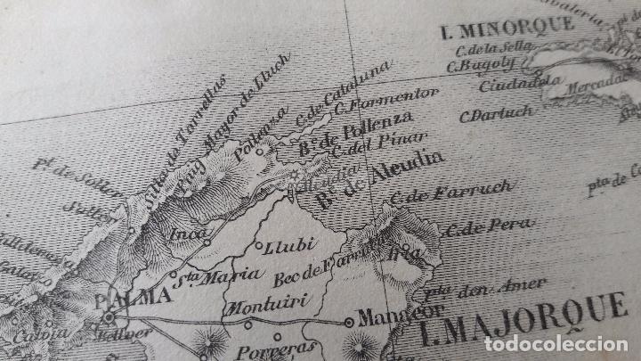 MAPA DE LAS ISLAS BALEARES DEL AÑO 1866 ( MALLORCA, MENORCA, FORMENTERA, IBIZA ) (Coleccionismo - Mapas - Mapas actuales (desde siglo XIX))