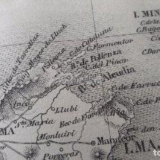 Mapas contemporáneos: MAPA DE LAS ISLAS BALEARES DEL AÑO 1866 ( MALLORCA, MENORCA, FORMENTERA, IBIZA ). Lote 85498468