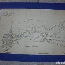 Mapas contemporáneos: CARTEL. PLANO. PUERTO DE CADIZ. OCÉANO ATLANTICO. 1907. ESCALA 1:10.000. 48,5 X 67 CM. PASPARTU.. Lote 86249396
