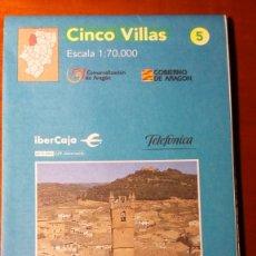 Mapas contemporáneos: MAPAS COMARCALES DE ARAGON - MAPA Nº 5 CINCO VILLAS ESCALA 1:70.000. Lote 86755816