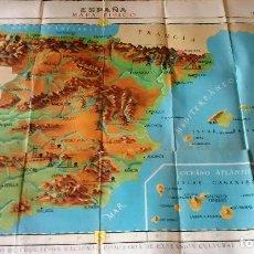 Mapas contemporáneos: MAPA FISICO DE PARED AÑOS 60, MINISTERIO EDUCACION NACIONAL, COMISARIA DE EXTENSION CULTURAL . Lote 88165568