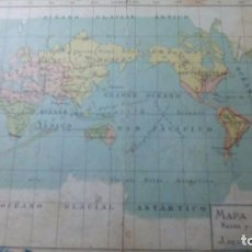 Mapas contemporáneos: MAPA MUNDI 2 CARAS. RAREZAS Y RELIGIONES. EUROPA FÍSICA. J. DE LA G. ARTERO. AÑO 1.935. Lote 88945848