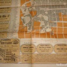 Mapas contemporáneos: PLANO INDUSTRIAL COMERCIAL VILLANUEVA Y GELTRÚ. 1882. 66X91 CM. BELLA PUBLICIDAD. VILANOVA I LA GELT. Lote 89082084
