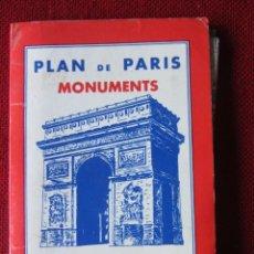 Mapas contemporáneos: PLAN DE PARIS MONUMENTS METRO. AÑOS 60/70. Lote 92441400