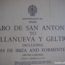 Mapas contemporáneos: CARTA NAÚTICA CABO SAN ANTONIO A VILLANUEVA Y LA GELTRÚ, LONDRES, 1977, ALMIRANTAZGO BRITÁNICO. Lote 94048635