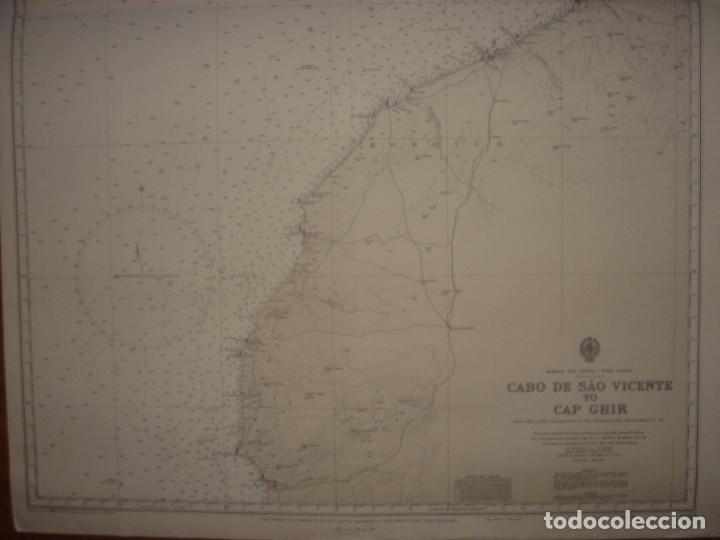 Mapas contemporáneos: CARTA NAÚTICA CABO SAN VICENTE, HUELVA, GIBRALTAR, MARRUECOS, LONDRES, 1973, ALMIRANTAZGO BRITÁNICO - Foto 3 - 120691322