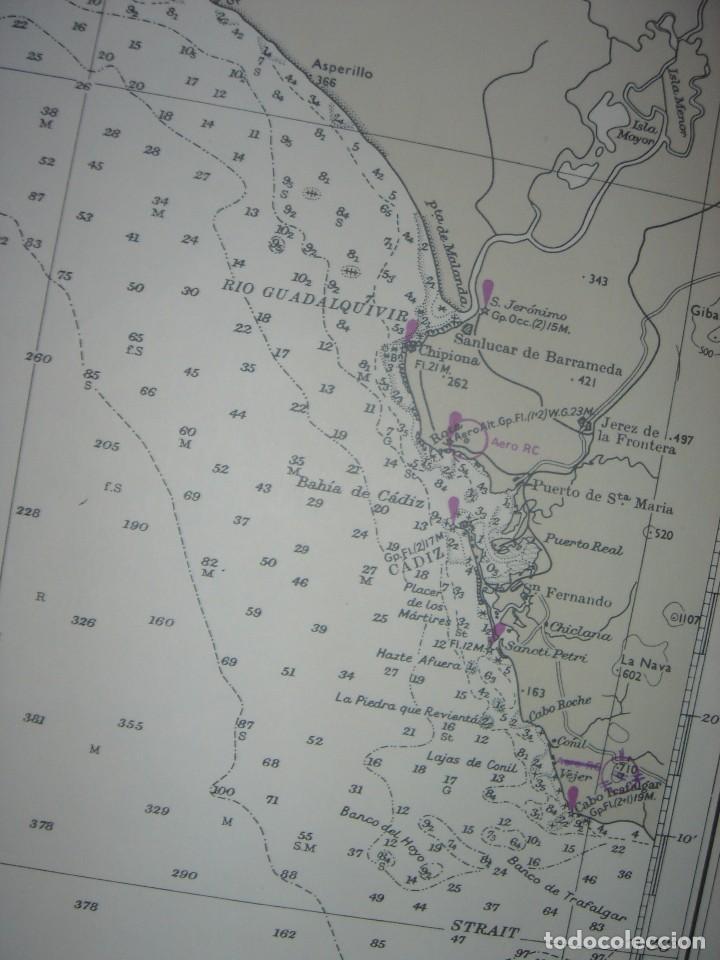 Mapas contemporáneos: CARTA NAÚTICA CABO SAN VICENTE, HUELVA, GIBRALTAR, MARRUECOS, LONDRES, 1973, ALMIRANTAZGO BRITÁNICO - Foto 8 - 120691322