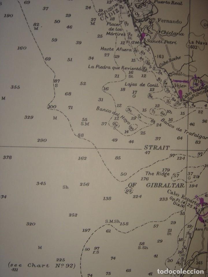 Mapas contemporáneos: CARTA NAÚTICA CABO SAN VICENTE, HUELVA, GIBRALTAR, MARRUECOS, LONDRES, 1973, ALMIRANTAZGO BRITÁNICO - Foto 10 - 120691322