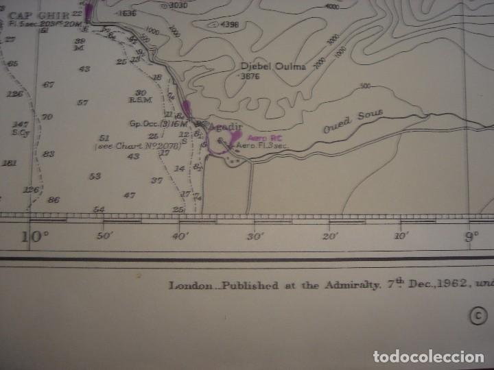 Mapas contemporáneos: CARTA NAÚTICA CABO SAN VICENTE, HUELVA, GIBRALTAR, MARRUECOS, LONDRES, 1973, ALMIRANTAZGO BRITÁNICO - Foto 19 - 120691322