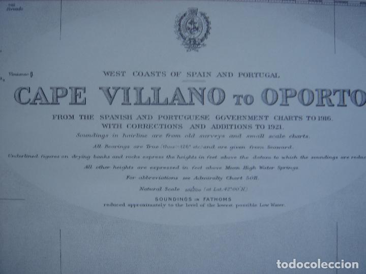 CARTA NAÚTICA CABO VILLANO, GALICIA, OPORTO, PORTUGAL, LONDRES, 1958, ALMIRANTAZGO BRITÁNICO (Coleccionismo - Mapas - Mapas actuales (desde siglo XIX))
