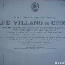 Mapas contemporáneos: CARTA NAÚTICA CABO VILLANO, GALICIA, OPORTO, PORTUGAL, LONDRES, 1958, ALMIRANTAZGO BRITÁNICO. Lote 94135860