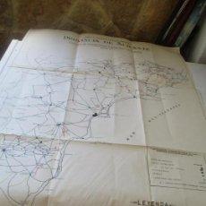 Mapas contemporáneos: VÍAS Y OBRAS PROVINCIALES, PROVINCIA DE ALICANTE, GRAFICO DE CARRETERAS Y CAMINOS VECINALES-MAPA 1. Lote 94323814